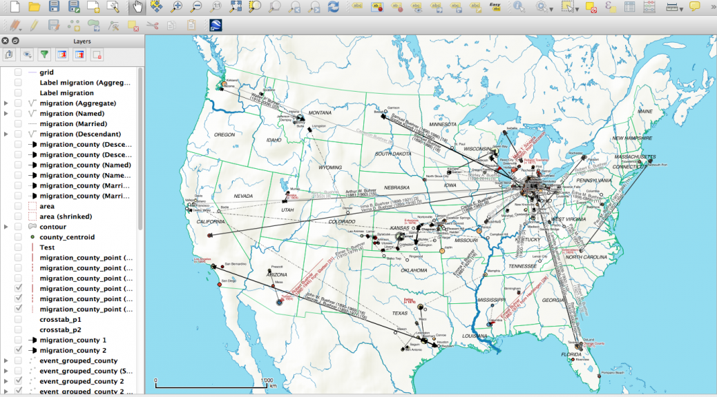 Screenshot QGIS project for the emigration map