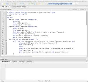 Sample PostgreSQL script
